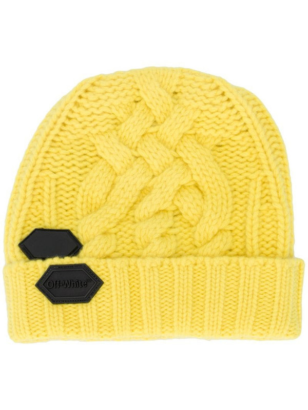 Off-White logo patch beanie in yellow