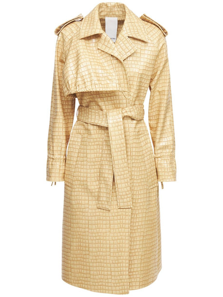 THEMOIRÈ Croc Embossed Faux Leather Trench Coat in beige
