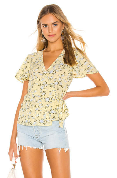 1. STATE Short Sleeve Wrap Front Blossom Cluster Blouse in yellow