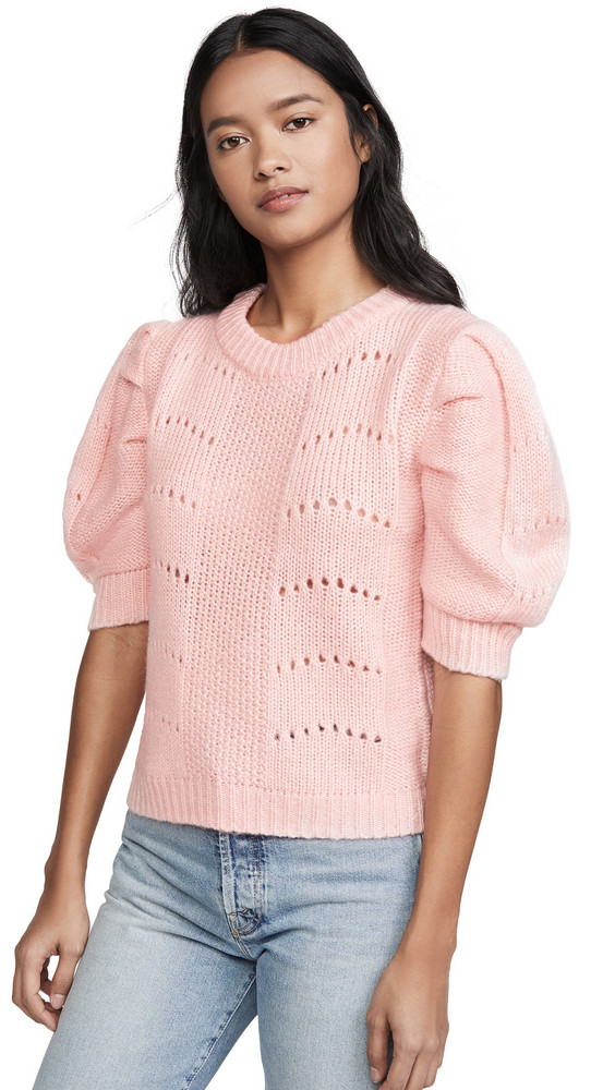 ENGLISH FACTORY Short Puff Sleeve Sweater in pink