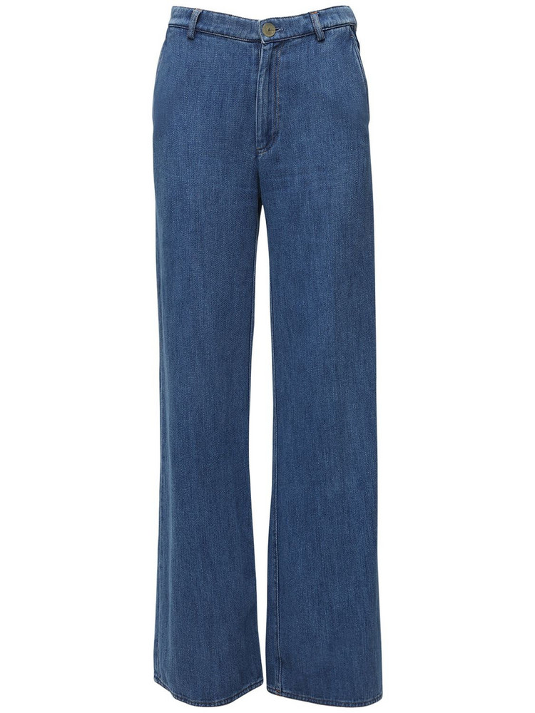FORTE FORTE Palazzo Cotton Denim Jeans in blue