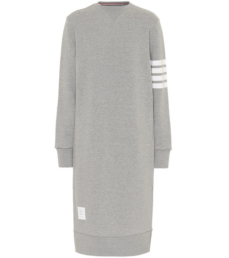 Thom Browne Cotton sweatshirt midi dress in grey