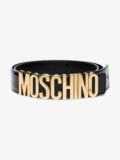 Moschino black logo leather belt