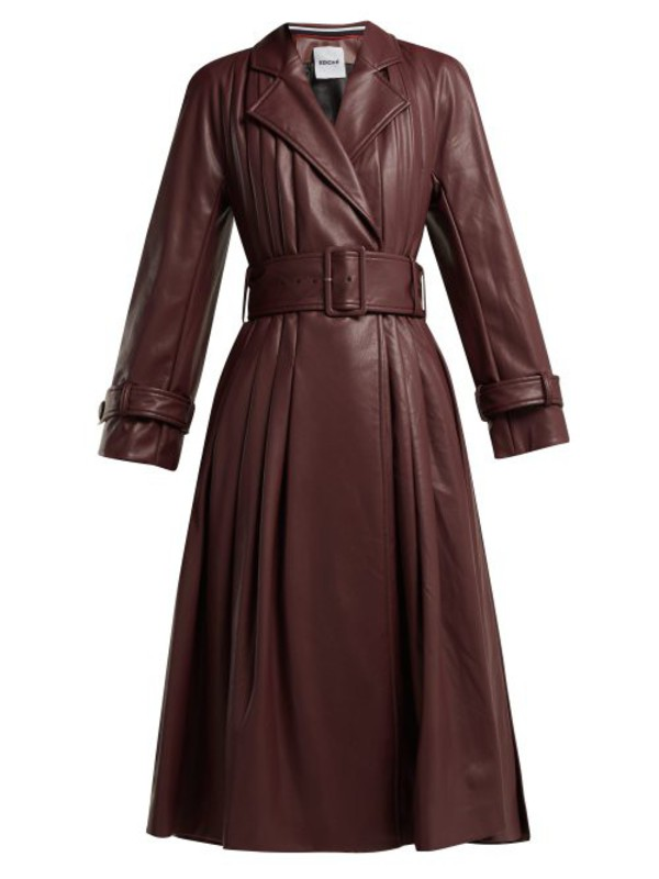 Koché Koché - Belted Faux Leather Trench Coat - Womens - Burgundy