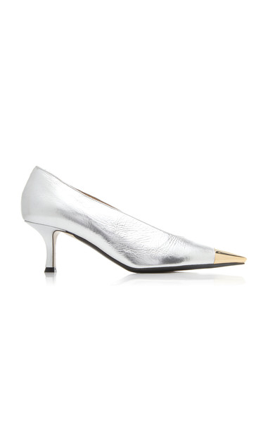 N°21 Metallic Leather Pumps in silver