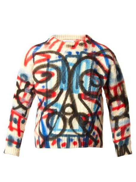 Charles Jeffrey Loverboy - Spray Paint Aran Knit Wool Sweater - Womens - Cream Multi