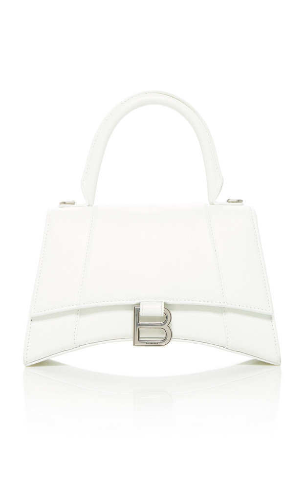 Balenciaga Hourglass Leather Top Handle Bag in white