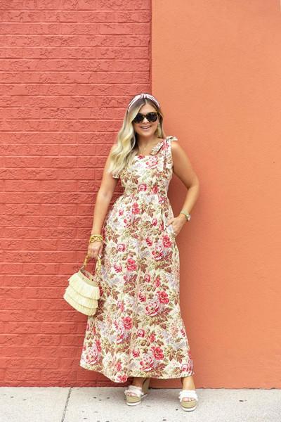 suburban faux-pas blogger dress sunglasses bag shoes jewels floral maxi dress wedges summer outfits summer dress