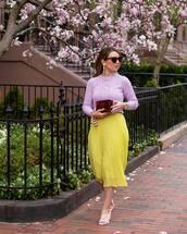 skirt,wrap skirt,midi skirt,pleated skirt,yellow skirt,white sandals,sweater