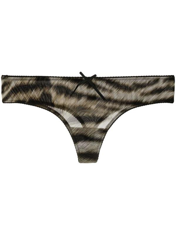 Roberto Cavalli tiger-print thong in brown