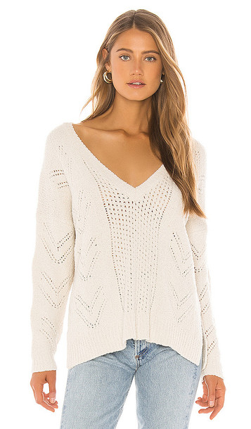 cupcakes and cashmere Maj V Neck Sweater in Ivory