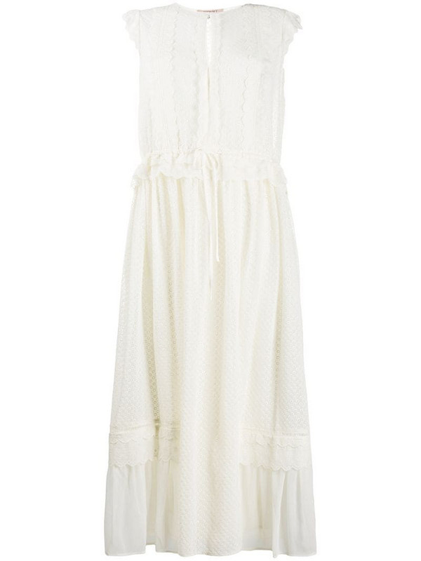 Twin-Set broderie anglaise midi dress in neutrals