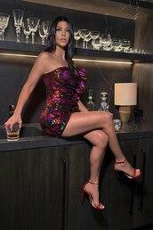 dress,pink,pink dress,red dress,red,kourtney kardashian,kardashians,mini dress,sequins,sequin dress