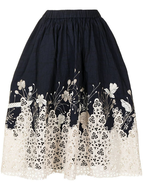 Biyan A-line broderie anglaise skirt in blue