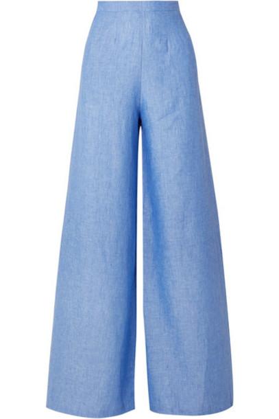 Miguelina - Pamela Linen Wide-leg Pants - Blue