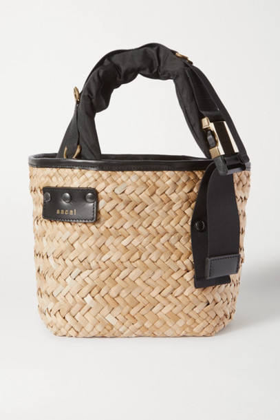 Sacai - Shell And Leather-trimmed Woven Straw Tote - Black