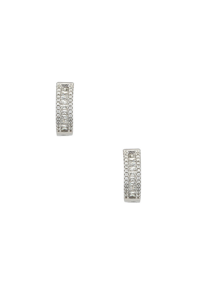 The M Jewelers NY The Baguette Channel Set Huggie Earrings in metallic / silver