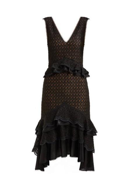 Jonathan Simkhai - Peplum Lace Midi Dress - Womens - Black