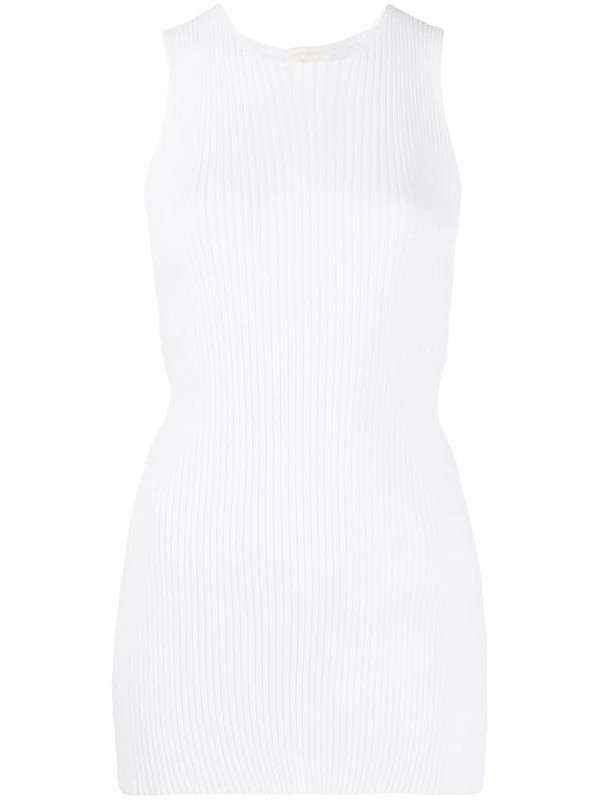 Semicouture knitted ribbed top in white