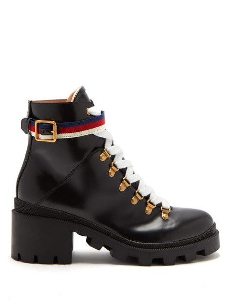 Gucci - Trip Leather Boots - Womens - Black