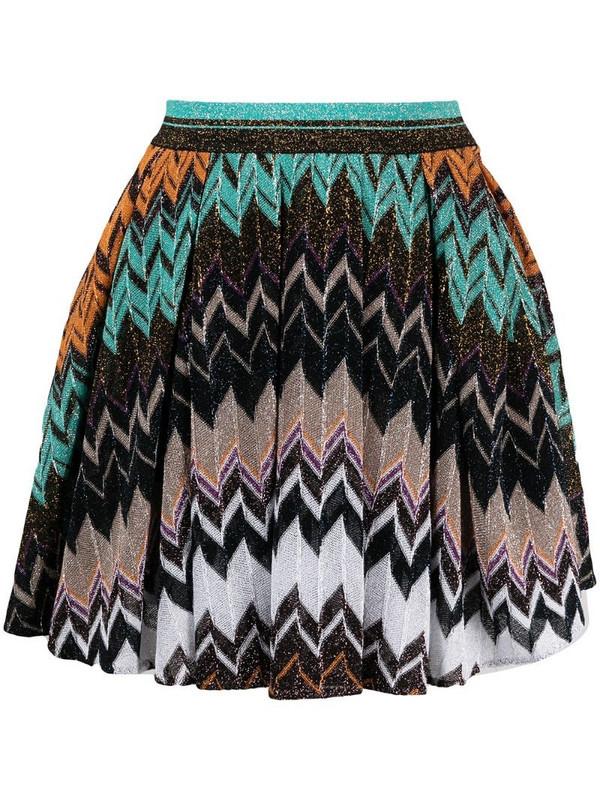 Missoni chevron-print pleated skirt in black