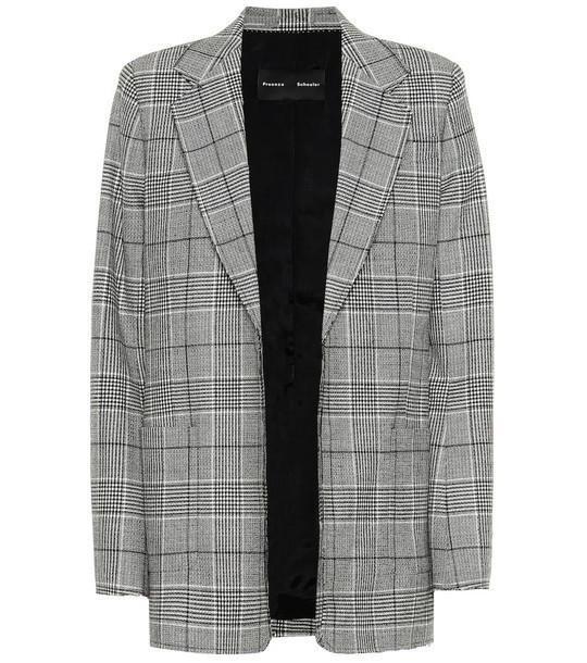 Proenza Schouler Novelty checked stretch-wool blazer in grey