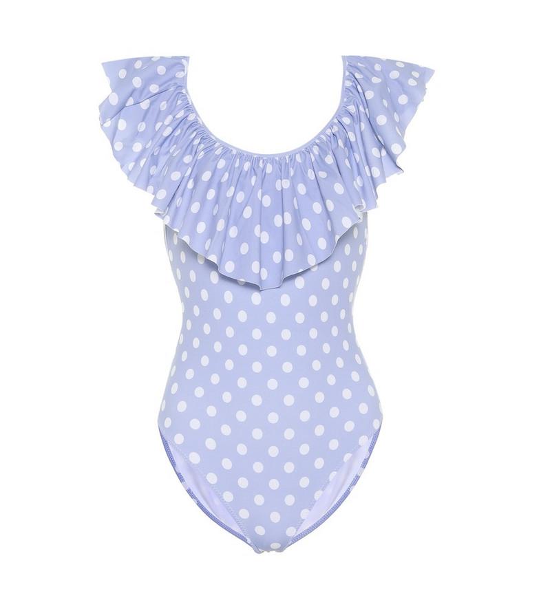 Caroline Constas Ari ruffled dotted swimsuit in blue