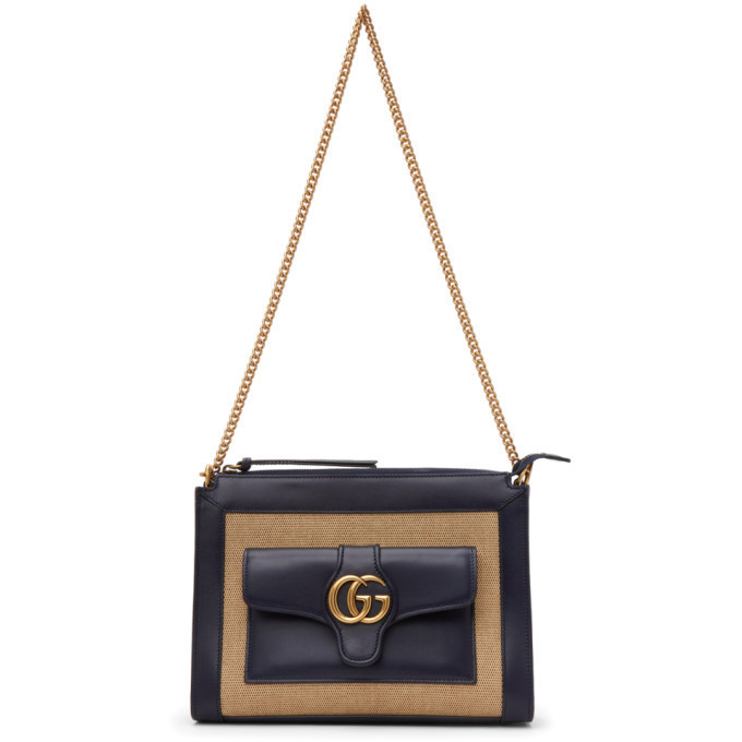 Gucci Navy Canvas Small GG Dahlia Shoulder Bag in brown / beige