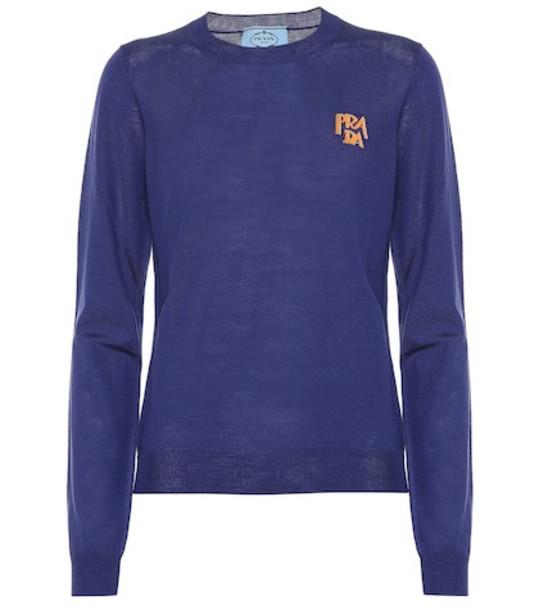 Prada Intarsia wool sweater in blue