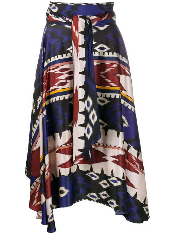Forte Forte high waisted aztec print skirt in blue