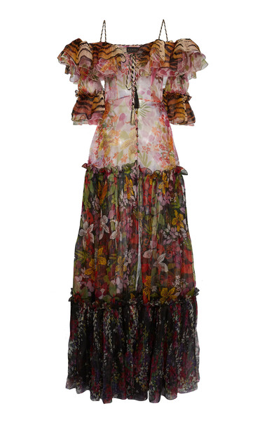 Dundas Contrast Print Ruffled Gown in multi