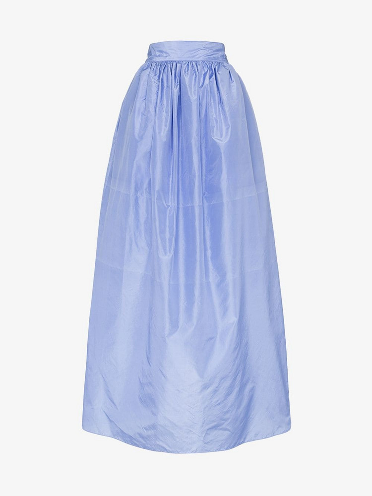 Michael Lo Sordo Silk Satin Ballroom Maxi Skirt in blue