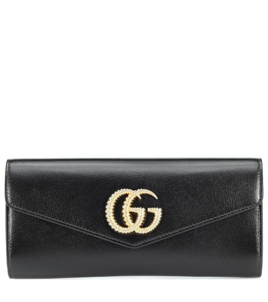 Gucci Broadway leather clutch in black