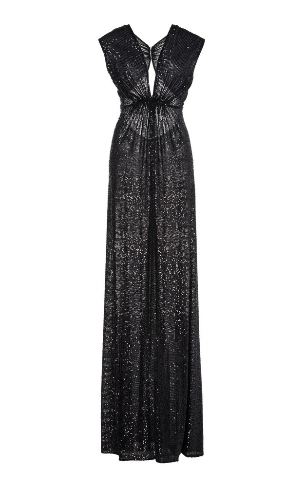 Naeem Khan Pleated Sequined Lamé Gown Size: 6 in purple