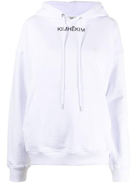 Kimhekim logo-print cotton hoodie in white