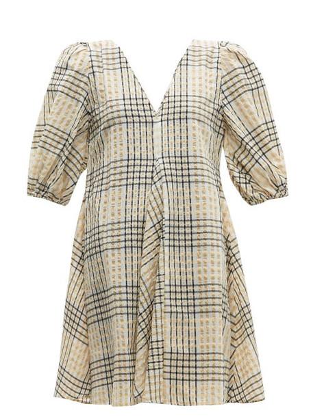 Ganni - Checked Seersucker Mini Dress - Womens - Cream Multi