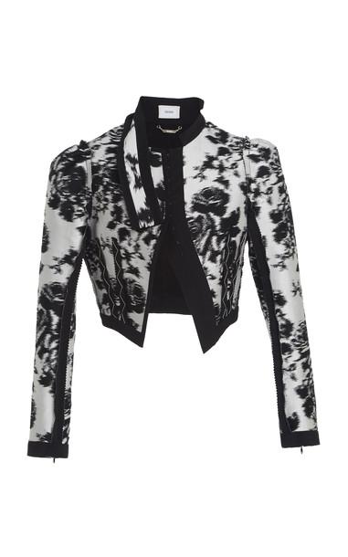 Erdem Brice Cropped Jacquard Jacket Size: 8