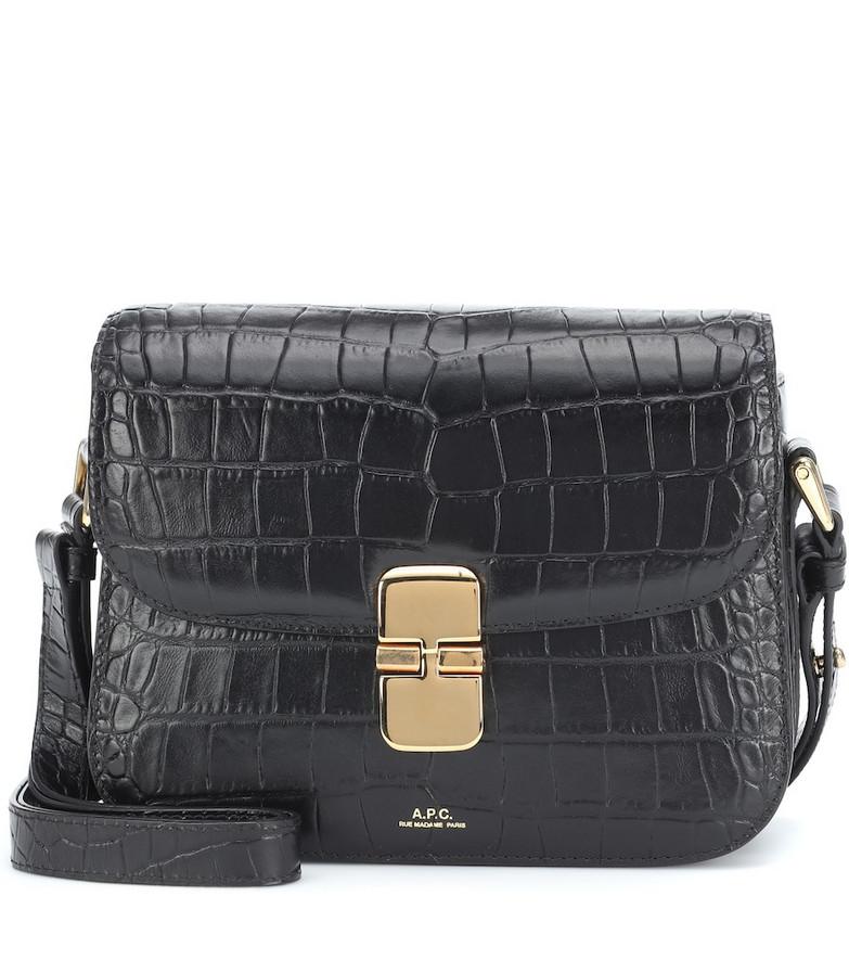 A.P.C. Grace croc-effect leather shoulder bag in black