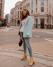 jacket,double breasted,river island,sandals,skinny jeans,ripped jeans,black bag,white blouse