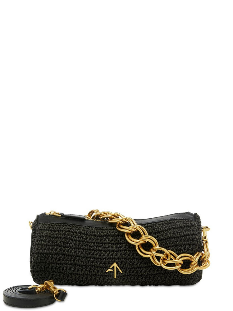 MANU ATELIER Mini Cylinder Crochet & Leather Bag in black