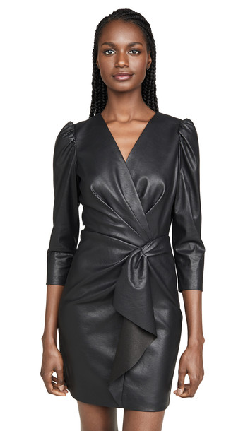 Rebecca Taylor Long Sleeve Vegan Leather Dress in black