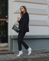 bag,black bag,crossbody bag,white boots,heel boots,ankle boots,black pants,black blazer,black coat,double breasted