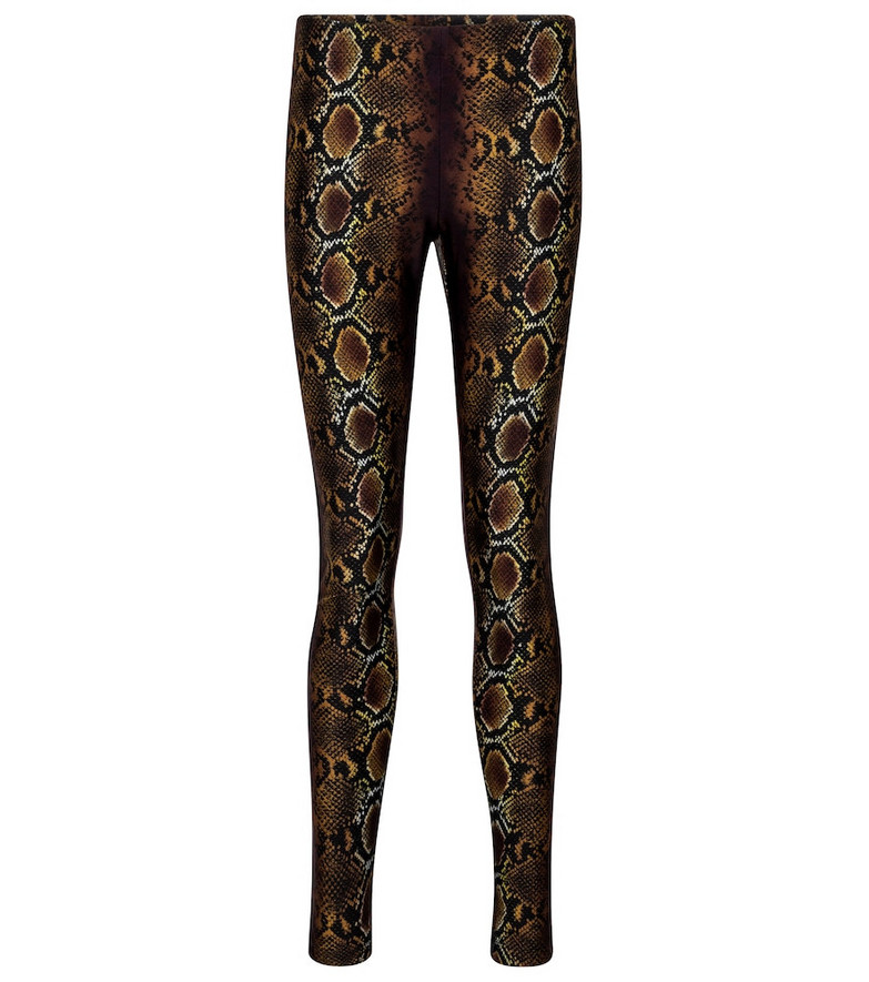 Versace Snake-print leggings in brown