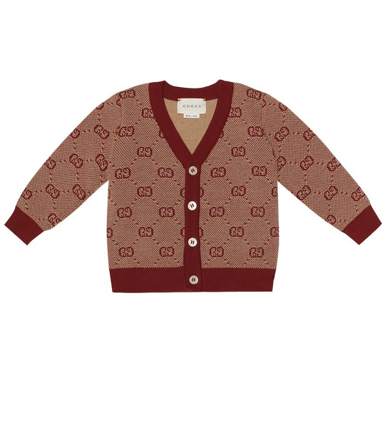 Gucci Kids Baby GG wool and cotton cardigan in brown