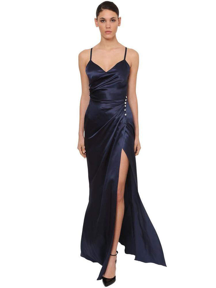 AZZARO Long Silk Satin Dress W/deep Slit in navy