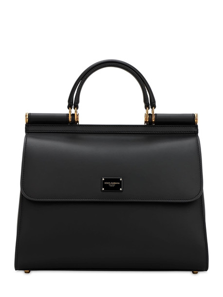 DOLCE & GABBANA Sicily 58 Large Leather Top Handle Bag in black