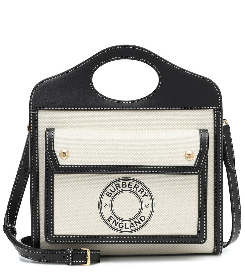 Burberry Pocket Mini canvas and leather tote