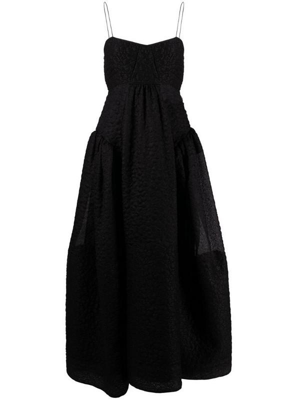 Cecilie Bahnsen Louie gathered matelassé silk dress in black