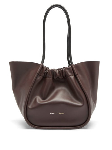 Proenza Schouler - Large Ruched Leather Tote Bag - Womens - Burgundy
