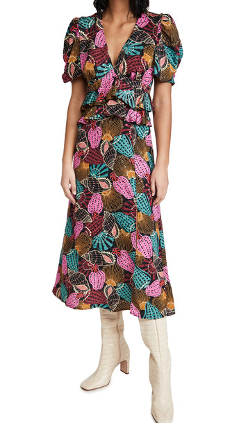 FARM Rio Shell Mix Midi Dress in multi